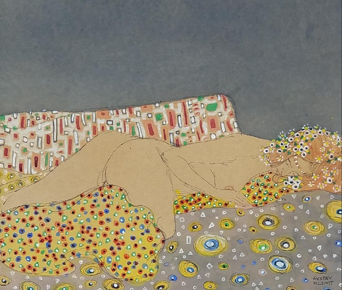 signed Gustav Klimt watercolor and ink on paper