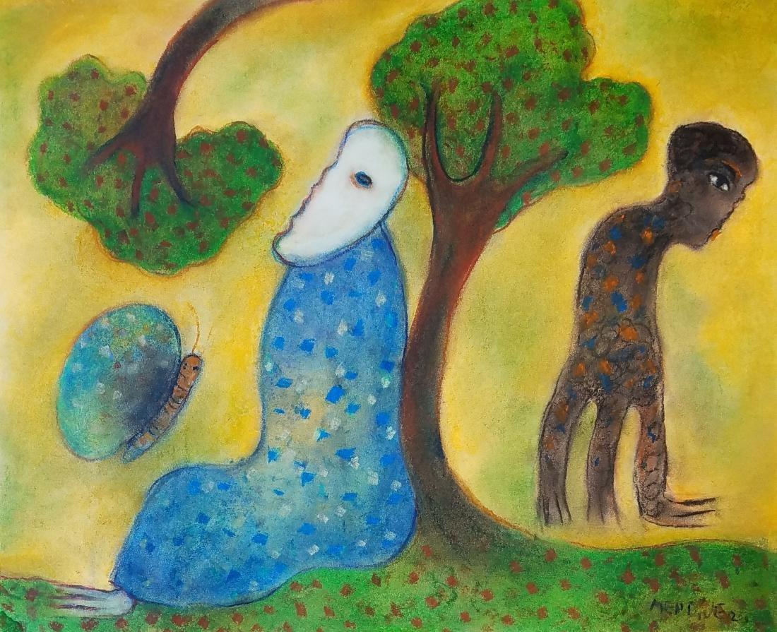 Manuel Mendive color pastel on paper