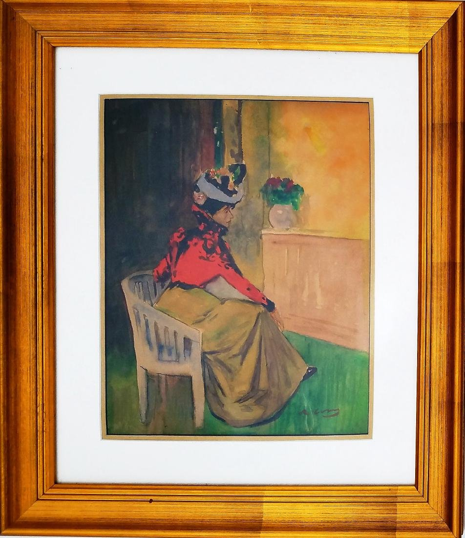 attributed Ramon Casas watercolor on paper