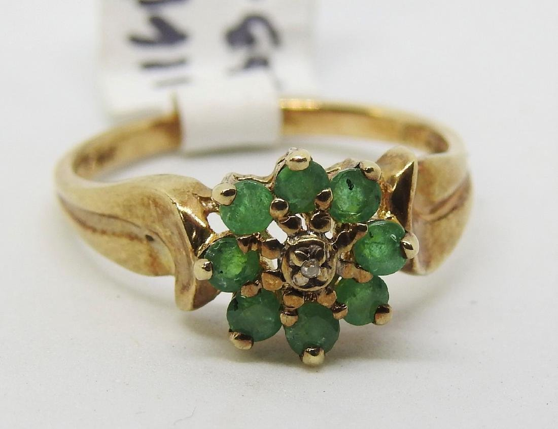 vintage 14k gold emerald diamond ring