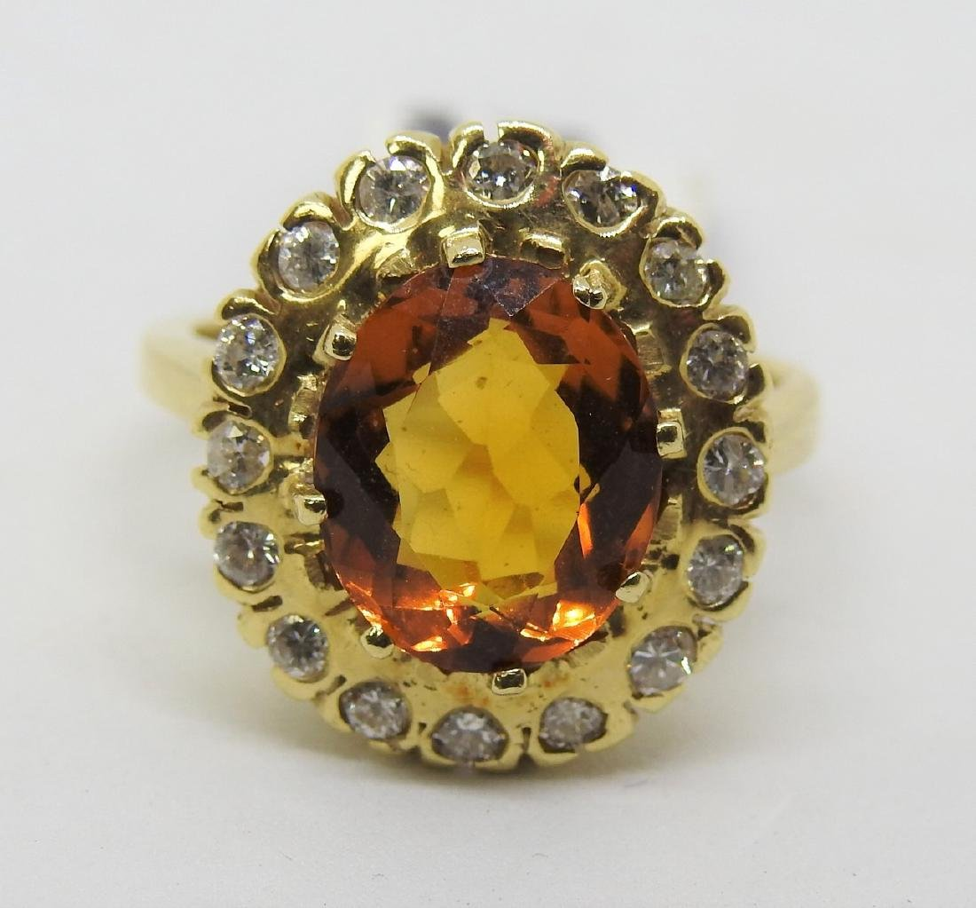 vintage yellow Citrine diamond ring