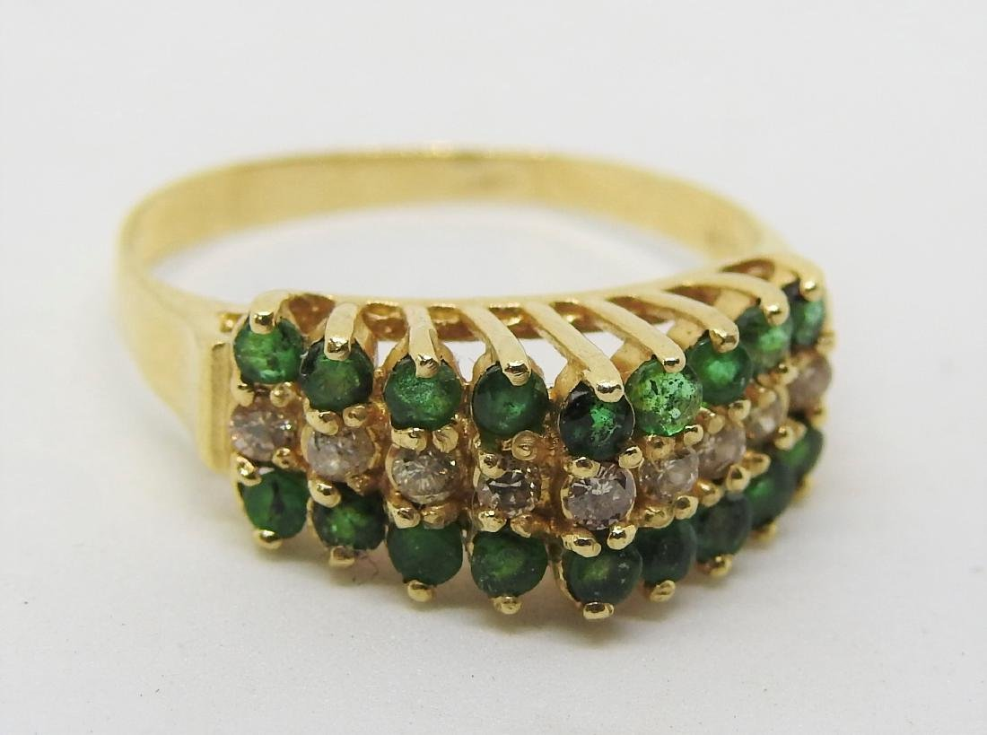 vintage gold emerald diamond ring