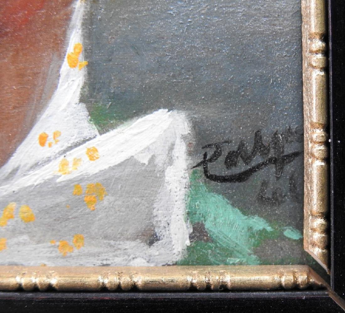 antique oil on wood panel painting - 2