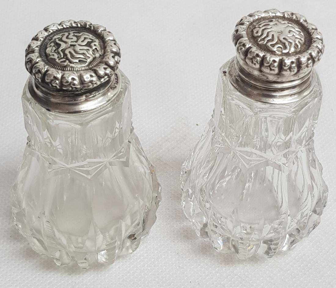 french sterling silver and glass salt and pepper