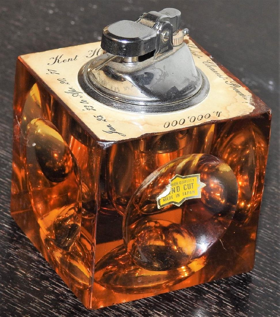 KING STAR AMBER HAND CUT CRYSTAL TABLE LIGHTER