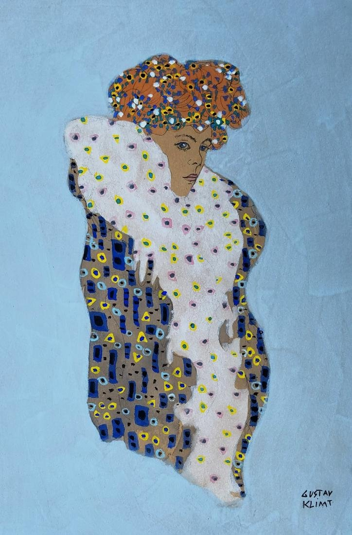 WATERCOLOR AND INK ON PAPER SIGNED Gustav Klimt