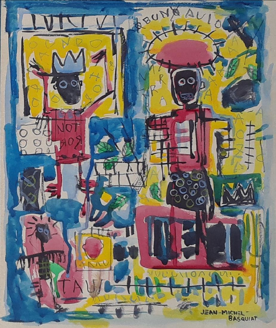Mixed Media On Paper Signed Jean Michel Basquiat