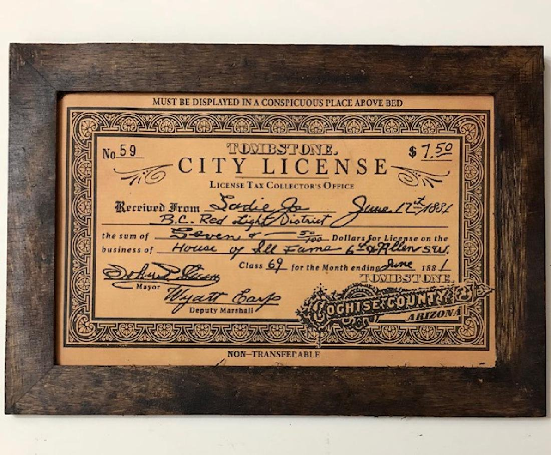 Brothel Whorehouse Tombstone City License Signed by