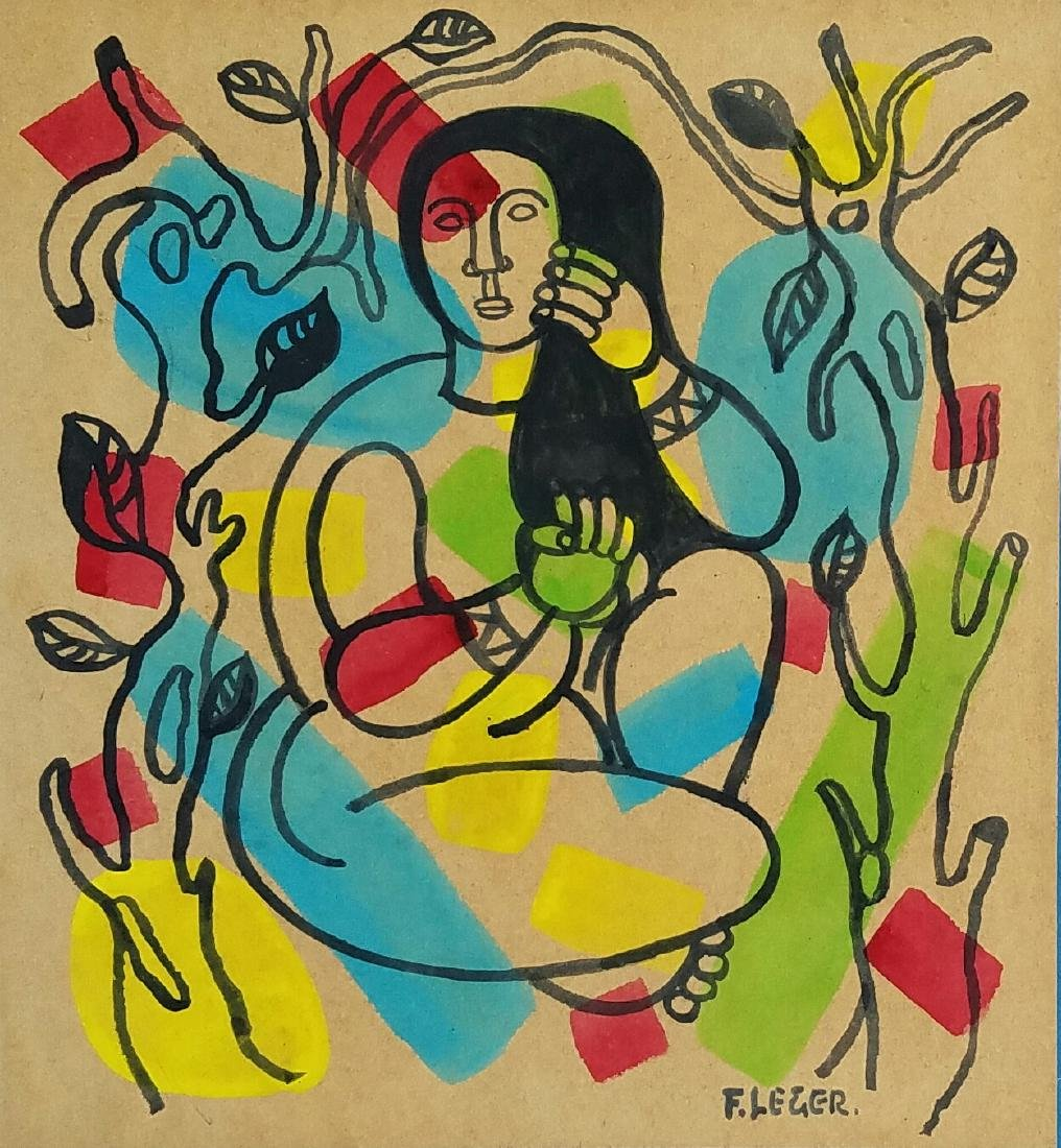 GOUACHE AND INK ON PAPER SIGNED F LEGER