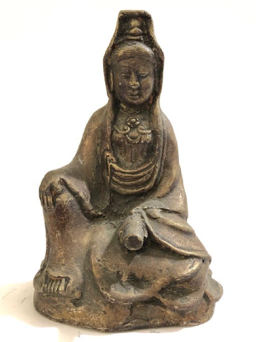 Antique Seated Cast Bronze QUAN YIN Buddha Statue