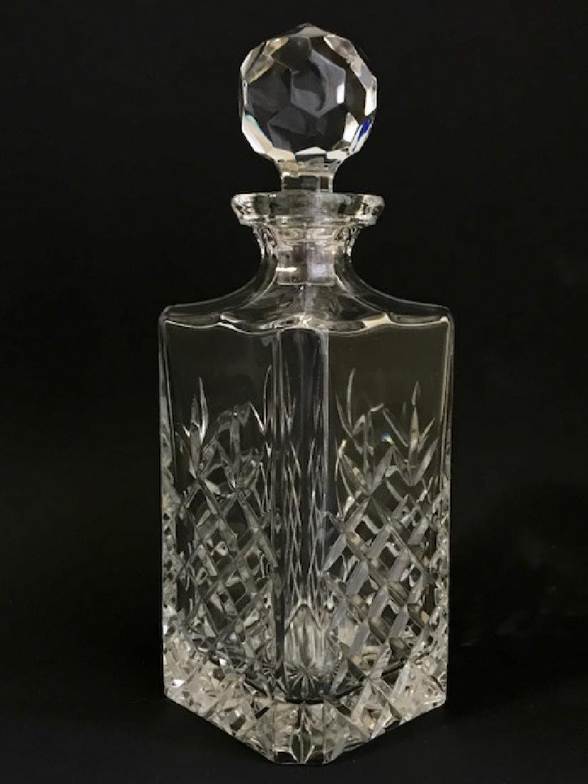 Signed Heavy Square Faceted Cut Crystal Decanter