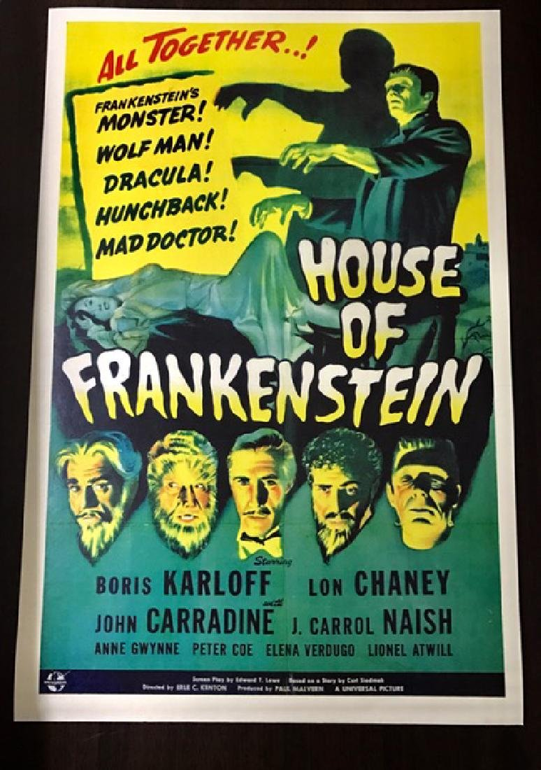 1944 House of Frankenstein Movie Theatre Lobby Poster