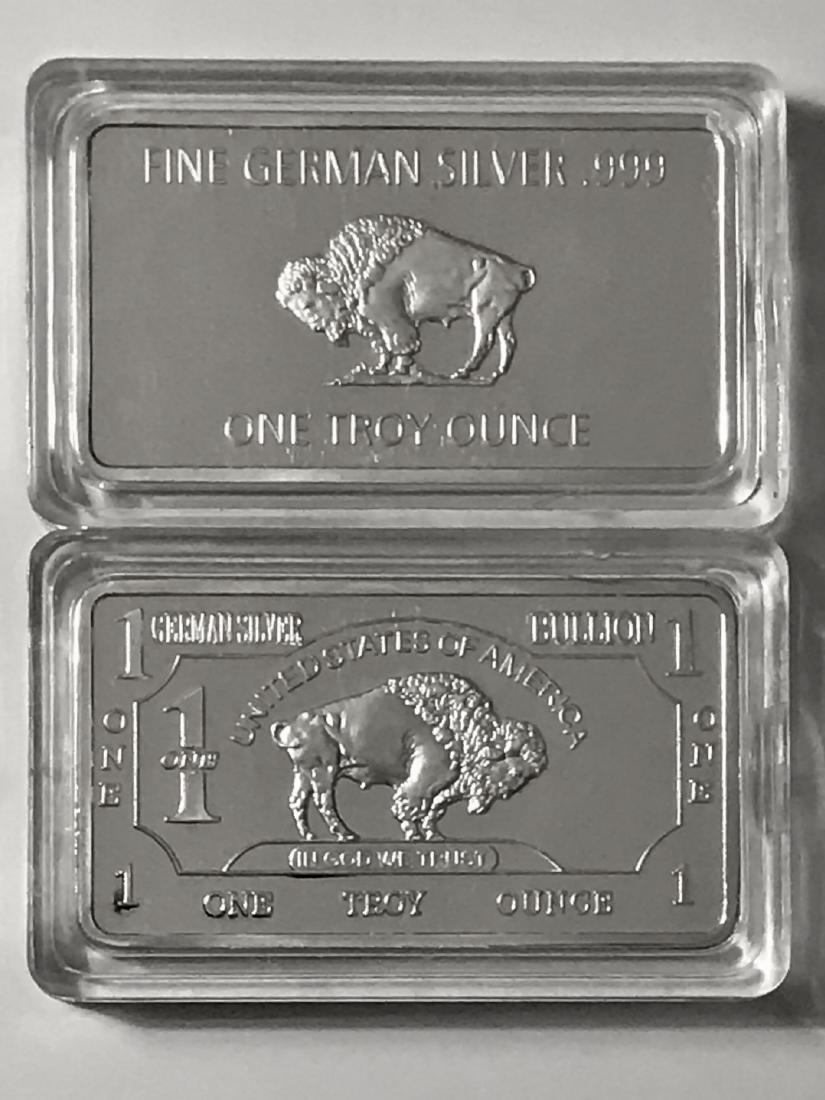 1 Troy Ounce .999 German Silver Buffalo Bullion Bar