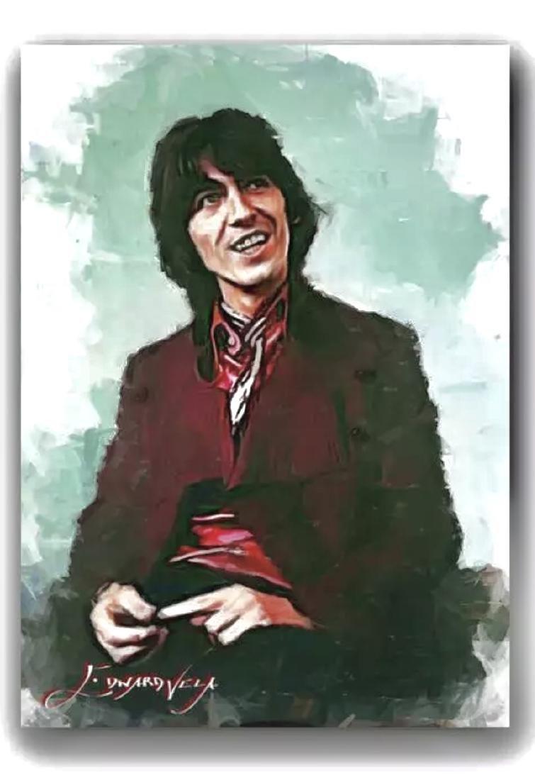 The BEATLES George Harrison Artist Hand Signed Sketch