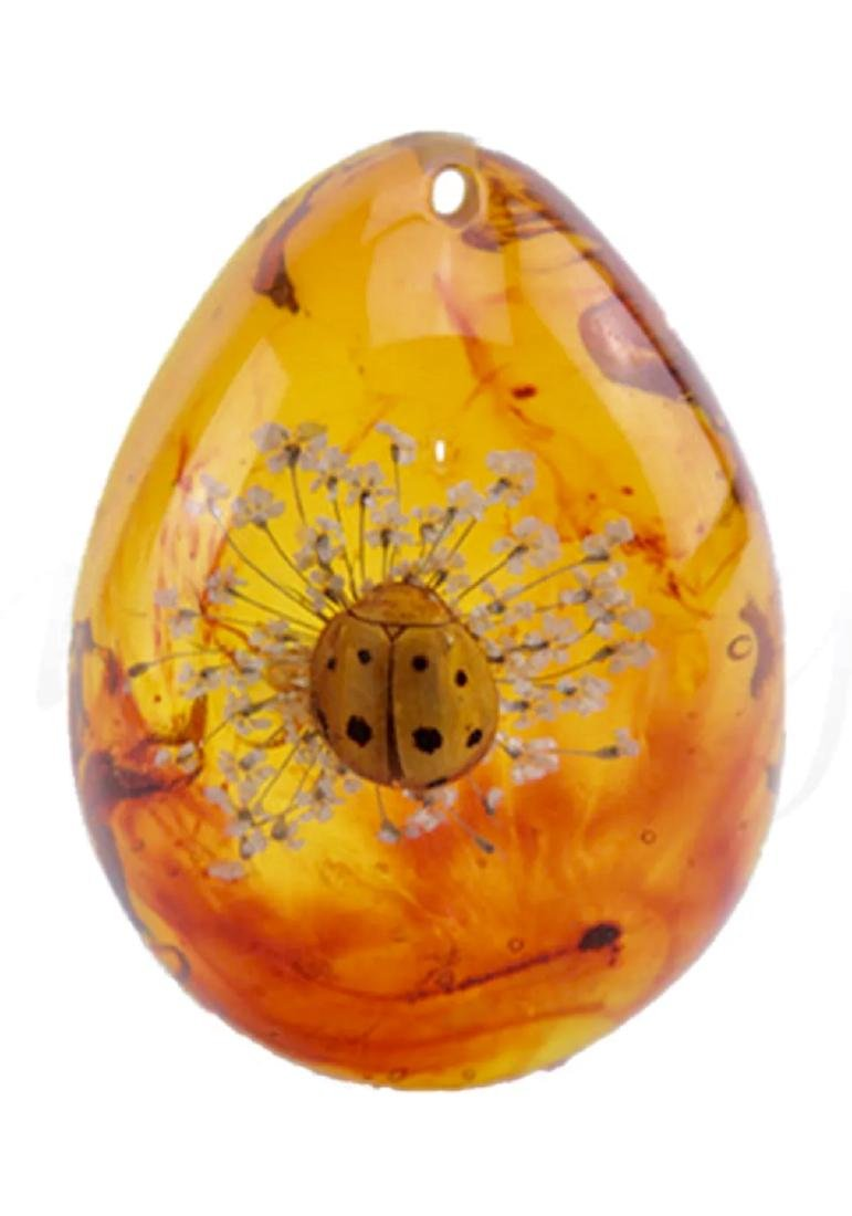 Rare Amber Encased LADY BUG Teardrop Amulet