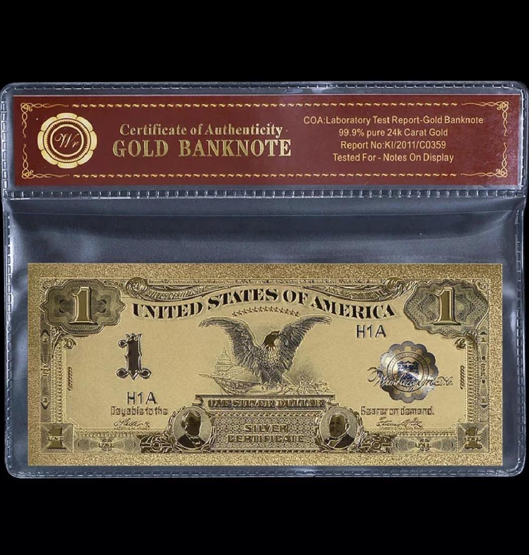 1899 Black Eagle 24k Gold $1 Silver Certificate