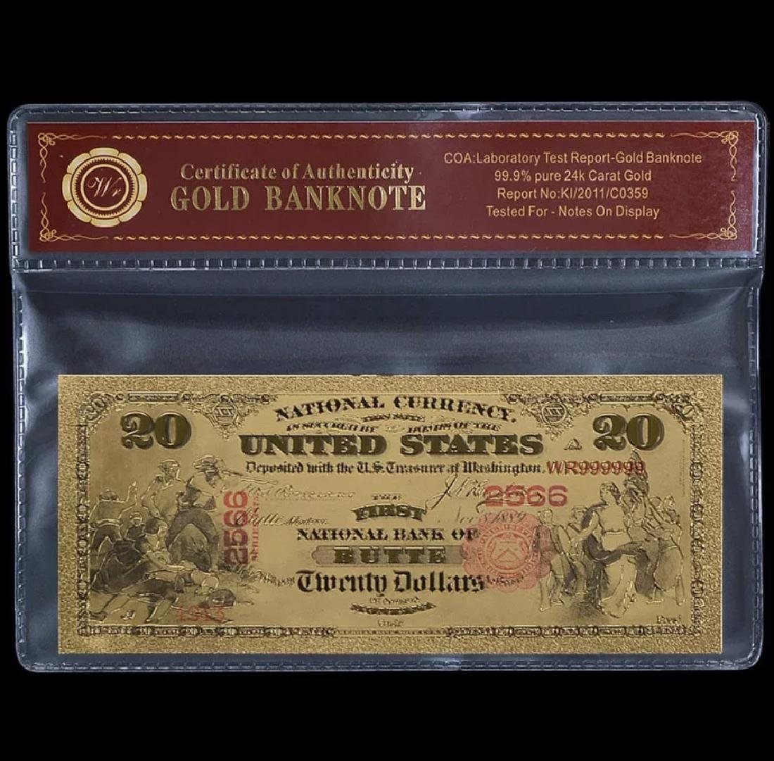 1875 Lab Tested 24k Gold $20 Banknote Certificate