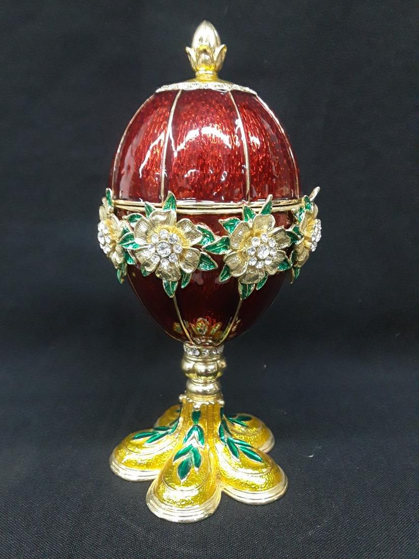 Beautiful Enamel & Rhinestone Faberge Style Jewelry Egg