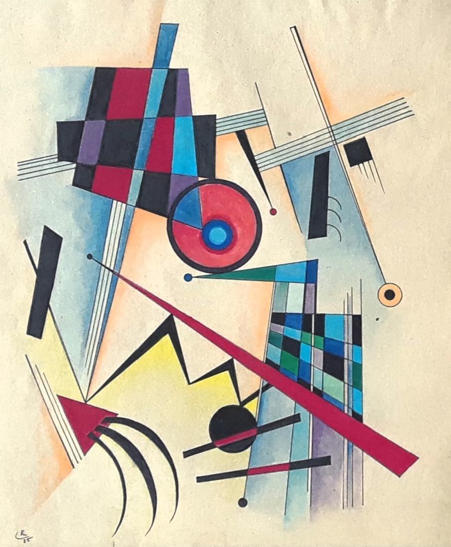Mixed Media On Paper (attrib.) Vassily Kandinsky