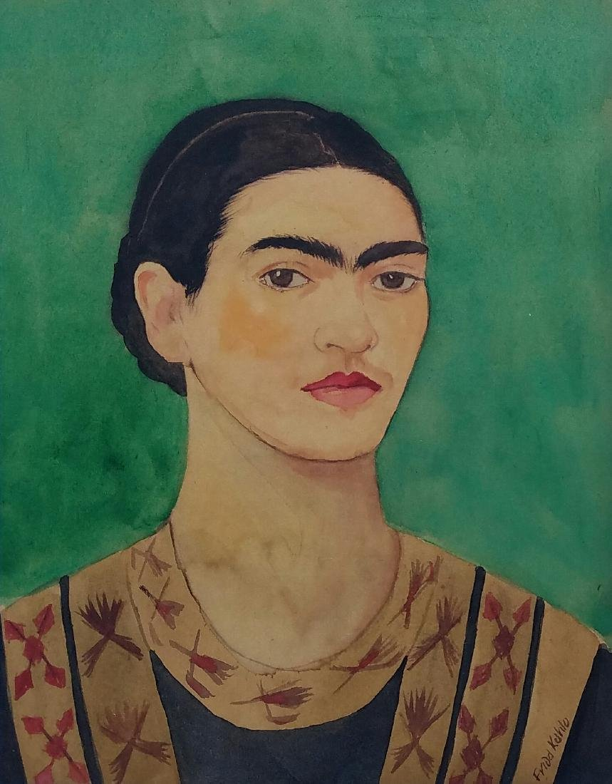 signed Frida Khalo watercolor on paper