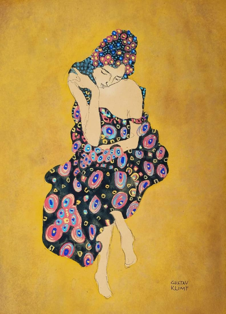WATERCOLOR AND INK ON PAPER SIGNED GUSTAV KLIMT
