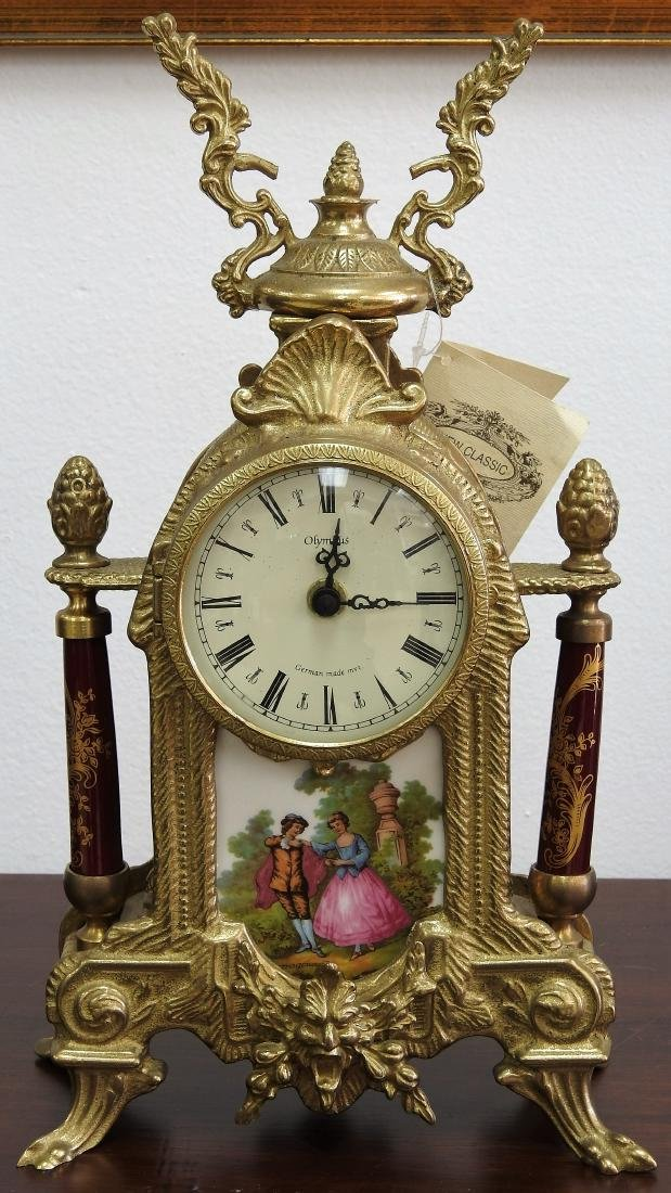 OLYMPUS FRAGONARD BRONZE MANTLE CLOCK