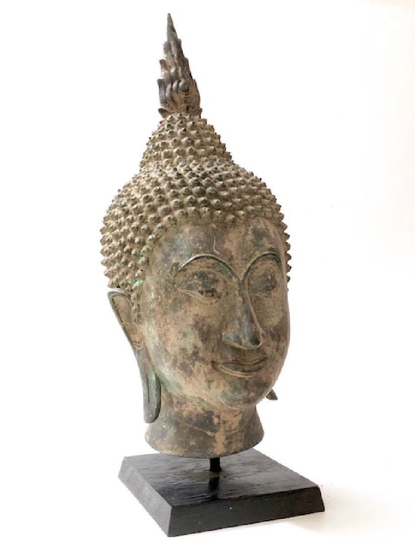 ") Antique 16"" Tall Tibetan SHAKYAMUNI Buddha Bust"