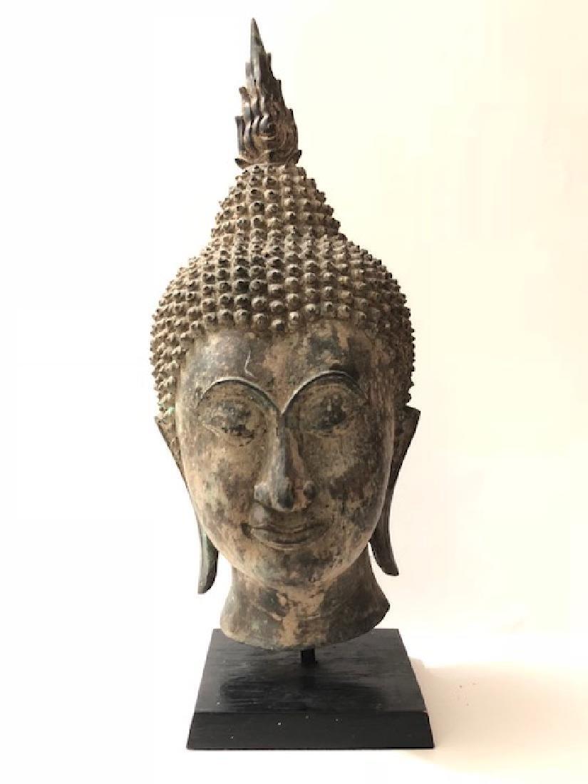 ") Antique 16"" Tall Tibetan SHAKYAMUNI Buddha Bust - 2"