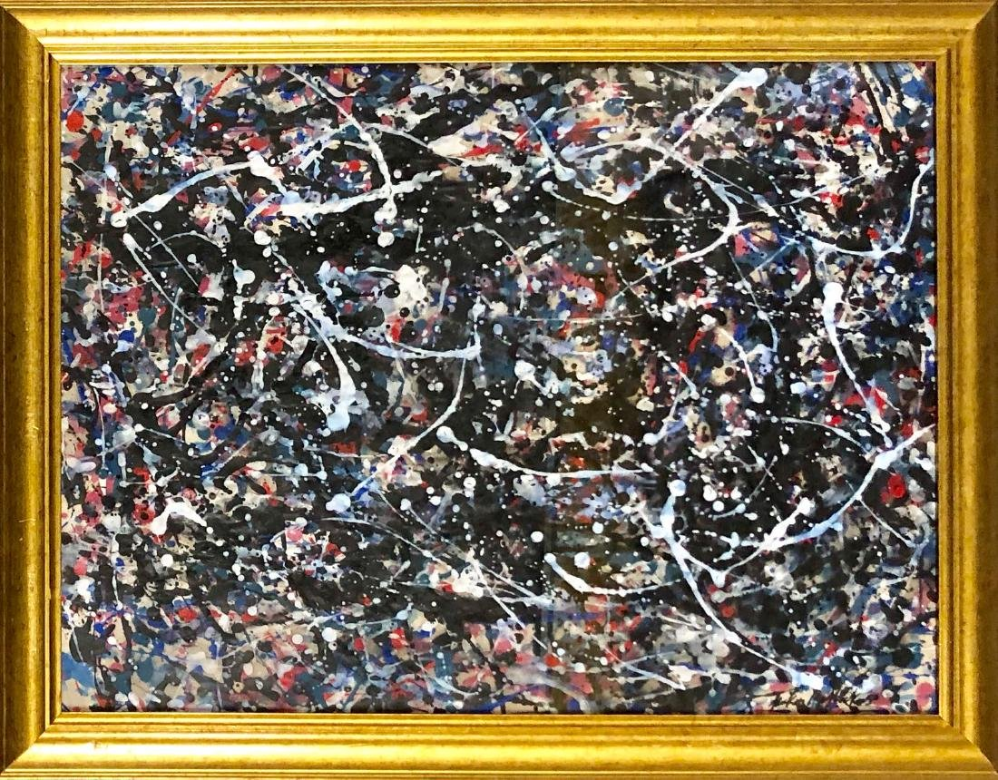 MIXED MEDIA ON PAPER SIGNED JACKSON POLLOCK