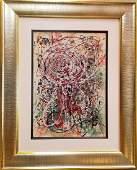 Acrylic/Oil Mixed Media on Board signed Jackson Pollock