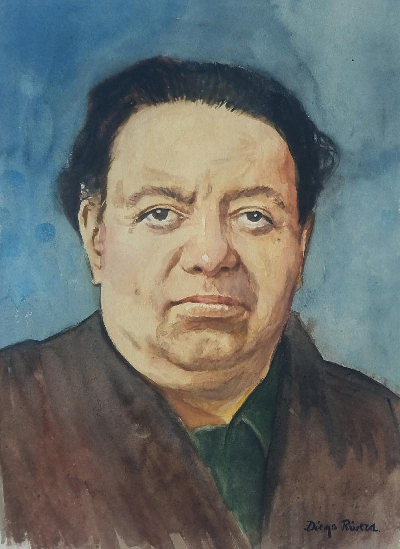 WATERCOLOR ON PAPER SIGNED DIEGO RIVERA