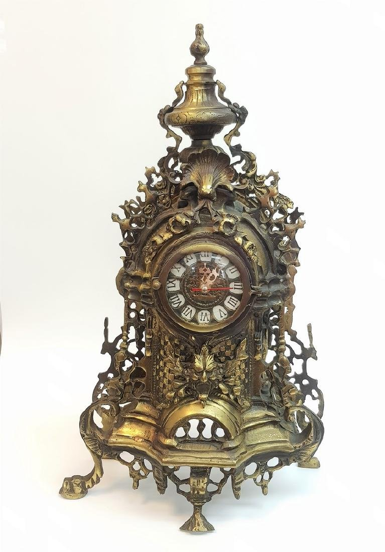 LARGE BRONZE MANTLE CLOCK