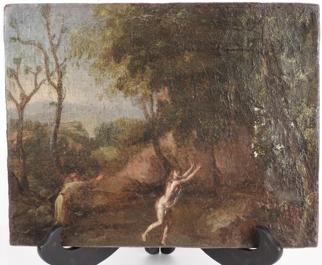 """ANTIQUE OIL ON CANVAS """"ADAM AND EVE"""""""