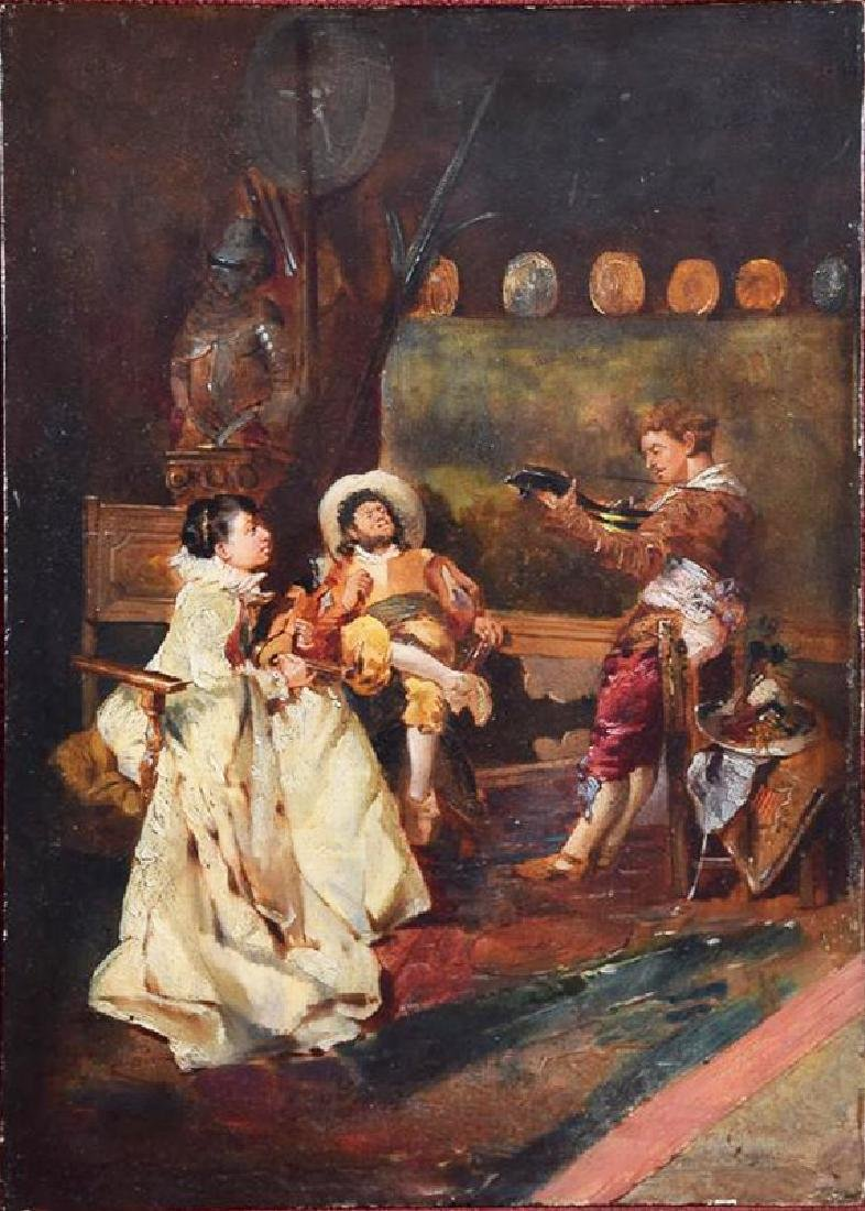 Vintage Old Master oil on panel of music playing