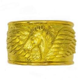 Signed David Webb 18K Yellow Gold Hand Made Horse Cuff
