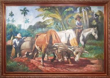"EVELIO GARCIA MATA (1903-1984) ""ARRASTRANDO LA PIPA"