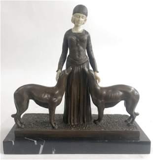 D.h Chiparus Art Deco Lady Dogs Bronze