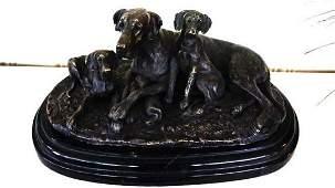 Large Dogs bronze sculpture