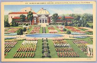 Museum and sunken gardens antique color postcard