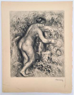 Renoir antique signed etching engraving