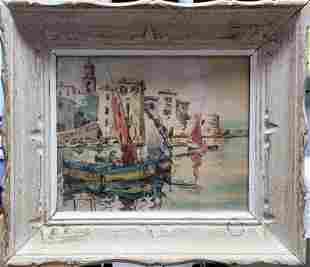 watercolor on board unknown artist