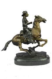 FREDERIC REMINGTON VINTAGE COWBOY HORSE SCULPTURE