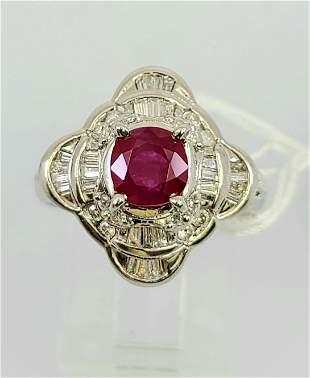 Vintage platinum Ruby diamond Ring