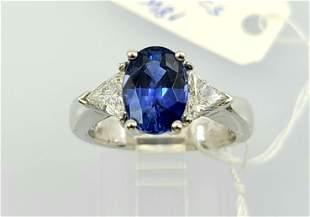 Vintage 18k Sapphire Diamond Ring