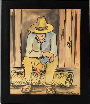 Diego Rivera Mix Media on Paper