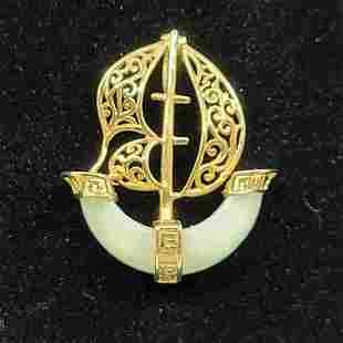 Sanuk Vintage 14K YG Oriental Jade Ship Pendant.
