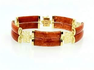 14K YG Oriental Jade Bracelet