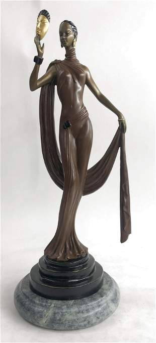 J.Erte Beautiful Woman Mask Bronze