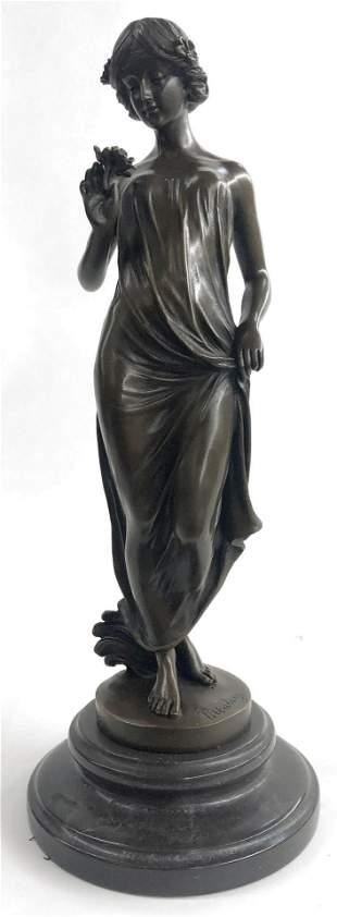 Pittalage Girl Flower Art Deco Bronze