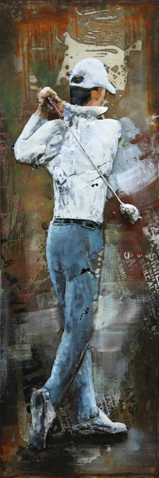Golfer 3-D Oil Painting Wall Decor Metal And Wood